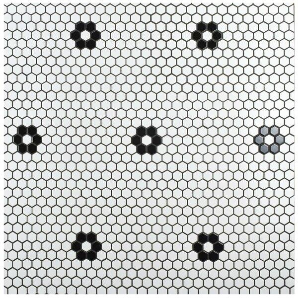 Retro Hexagon 0.875 X 0.875 Porcelain Mosaic Tile In Glazed Black/white By Elitetile.