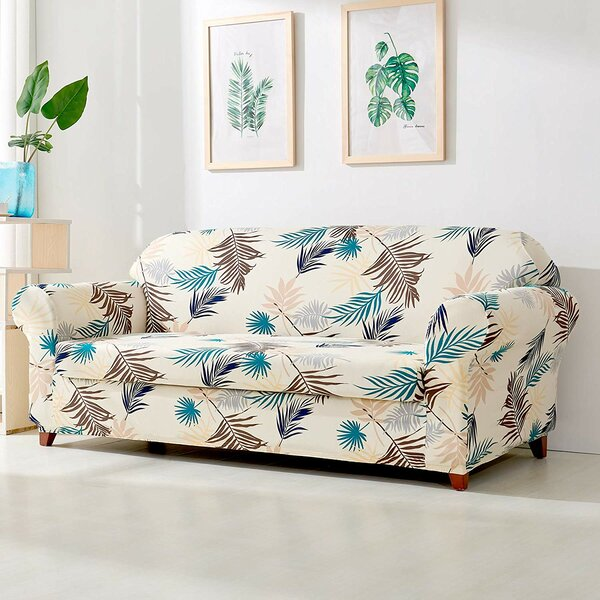 Leaves Printed Stretch Loveseat Slipcover by subrtex