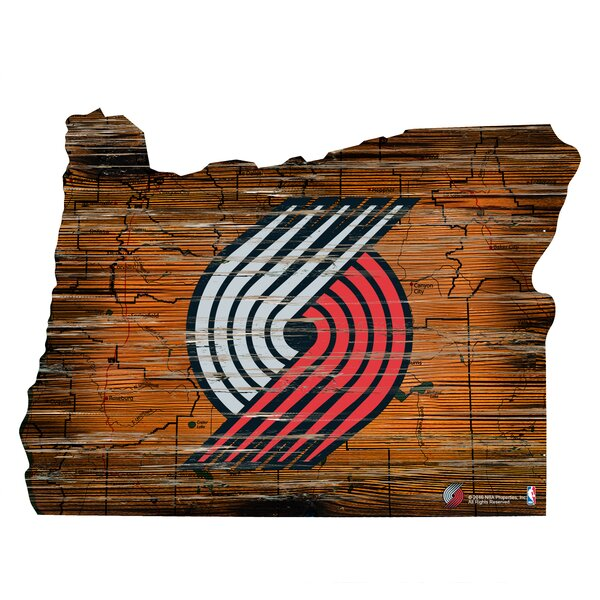 NBA Trail Blazers Distressed State Wall Décor by Fan Creations