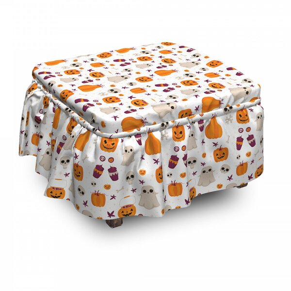 Halloween Party Cartoon Ottoman Slipcover (Set Of 2) By East Urban Home