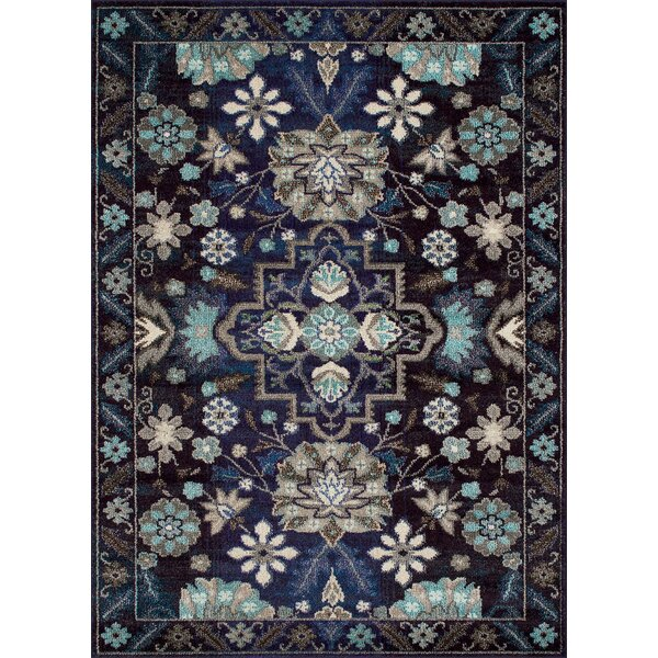 Feldmann Persian Inspired Storm Blue Area Rug by Bloomsbury Market