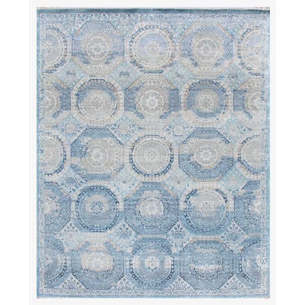 Hand-Knotted Blue Area Rug by Exquisite Rugs