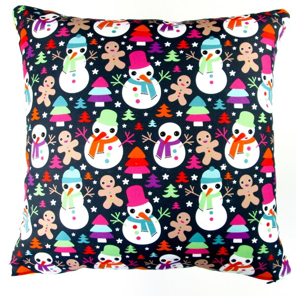 Christmas Snow Man and Ginger Bread Man Throw Pillow by Artisan Pillows