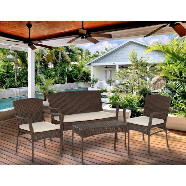 Beaman 4 Piece Rattan Conversation Set with Cushions by Bloomsbury Market