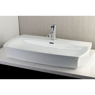 Best Choices Fauceture Vitreous China Rectangular Vessel Bathroom Sink with Overflow ByKingston Brass