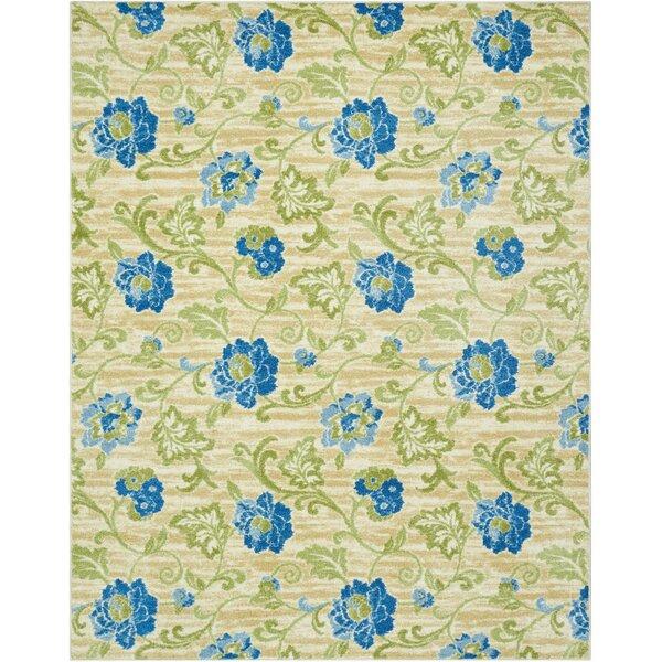 Aura of Flora Refresh Blue/Beige Area Rug by Waverly
