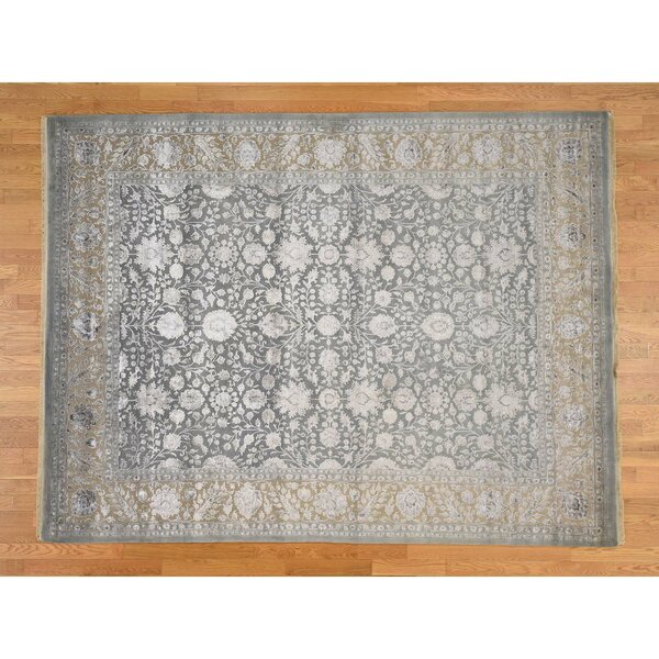 One-of-a-Kind Salzer 300 Kpsi Tone on Tone Hand-Knotted Silver Area Rug by Astoria Grand