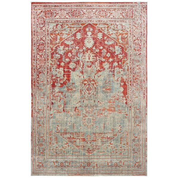 Pateros Faded Medallion Gray/Orange Area Rug by World Menagerie