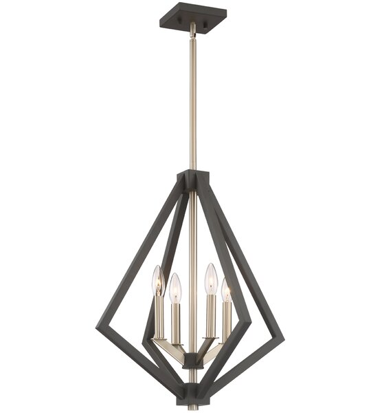 Greggory 4-Light Geometric Chandelier by Corrigan