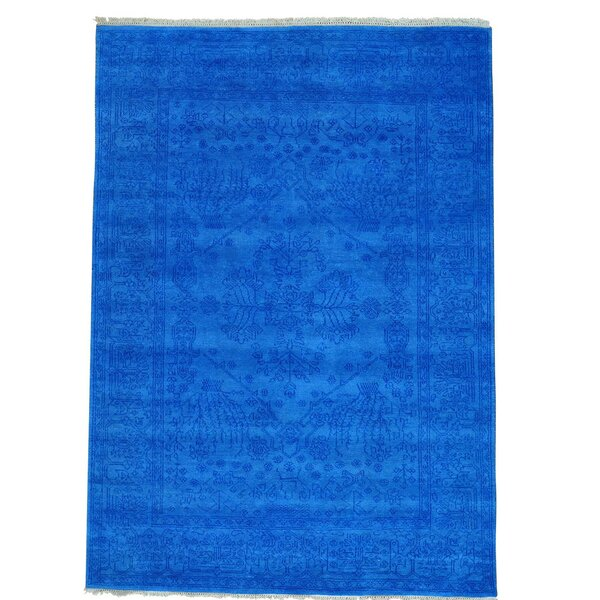 One-of-a-Kind Mariami Tone on Tone Hand-Knotted Denim Blue Area Rug by Bungalow Rose