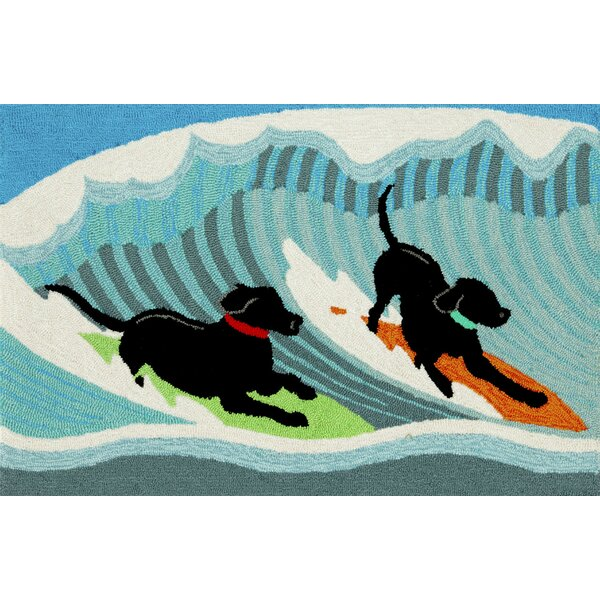 Olsen Surfing Dogs Blue Indoor/Outdoor Area Rug by Highland Dunes