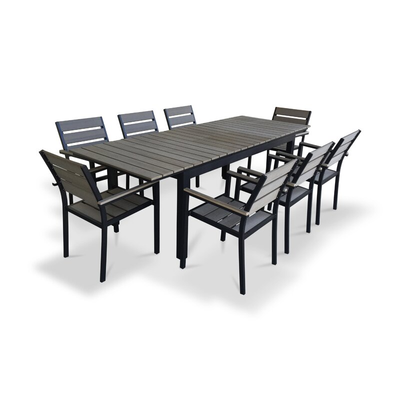 Urban Furnishings 9 Piece Extendable Outdoor Dining Set Reviews Wayfair