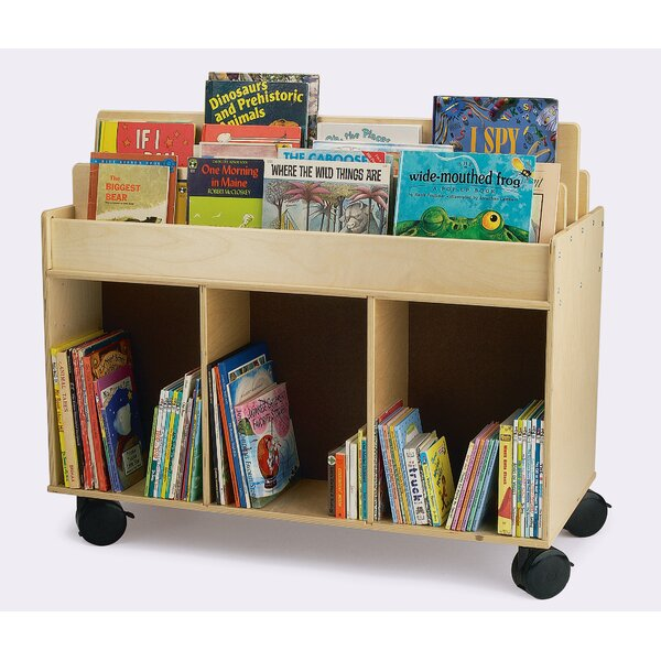 Double Sided 3 Compartment Book Display with Casters by Whitney Brothers