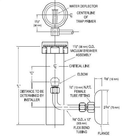 1.5 x 21.5 Vacuum Breaker Trap Primer by Sloan