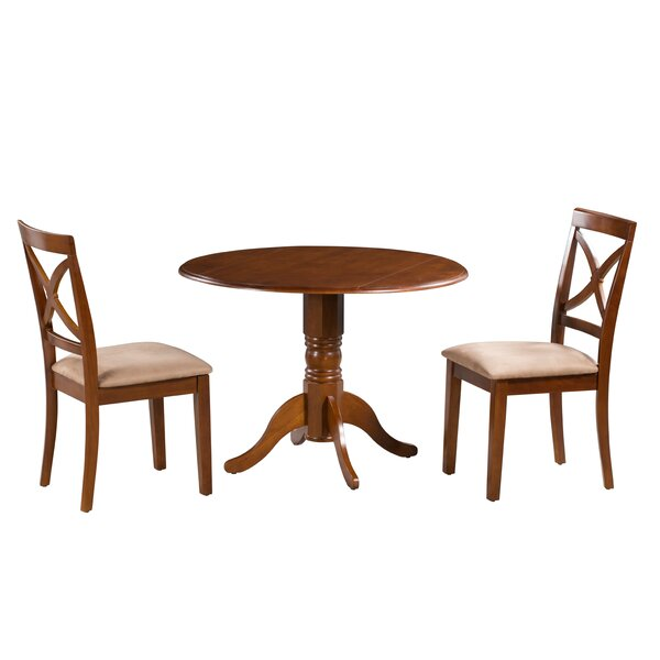 Devyn 3 Piece Drop Leaf Solid Wood Dining Set by Alcott Hill
