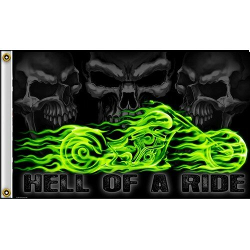 Hell of A Ride Bike Polyester 3 x 5 ft. Flag by NeoPlex