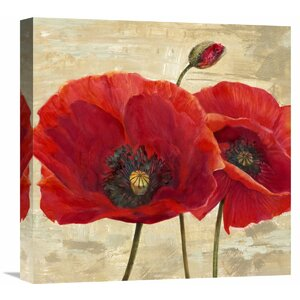 'Red Poppies (Detail II)' by Cynthia Ann Painting Print on Wrapped Canvas by Global Gallery