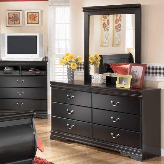 Carpenter 6 Drawer Double Dresser with Mirror by Three Posts