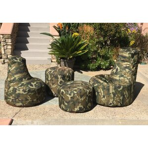 Durable Camo Bean Bag Set by Hot Shot Chairs