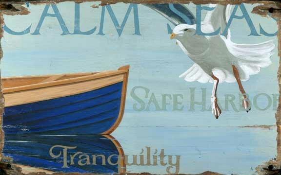 Calm Seas Vintage Advertisement Plaque by Highland Dunes