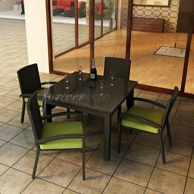 Barbados 5 Piece Dining Set with Sunbrella Cushions Forever Patio Fabric: Spectrum Kiwi / Self Welt