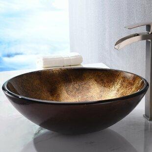 Great deal Arc Glass Circular Vessel Bathroom Sink By ANZZI