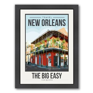 Travel Poster New Orleans Framed Graphic Art by East Urban Home