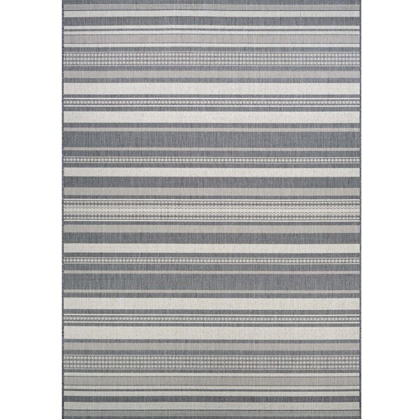 Anguila Stripe Gray Indoor/Outdoor Area Rug by Beachcrest Home