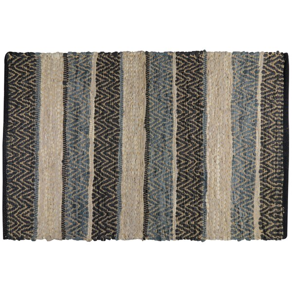 Rojas Stripe Hand-Woven Cotton Denim/Beige/Black Area Rug by Loon Peak