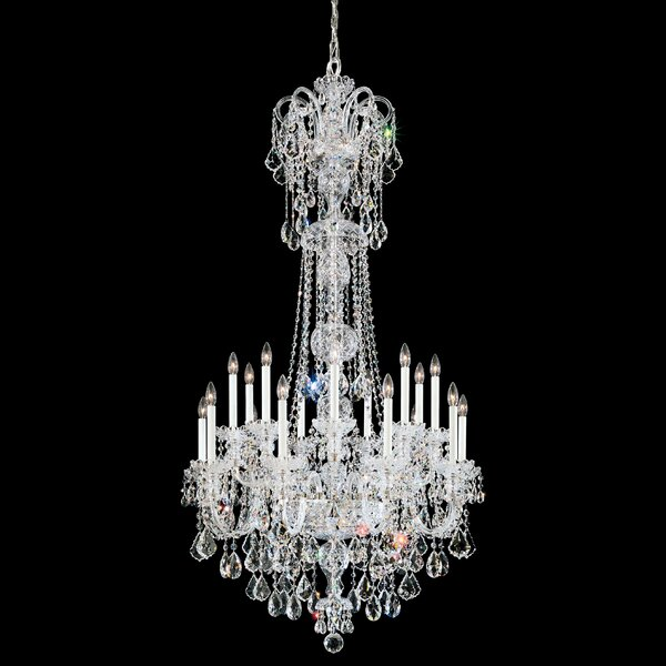 Olde World 23 - Light Candle Style Tiered Chandelier With Crystal Accents By Schonbek