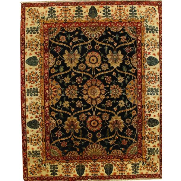 Indo Himalayan Hand-Knotted Wool Navy/Ivory Area Rug by Pasargad NY