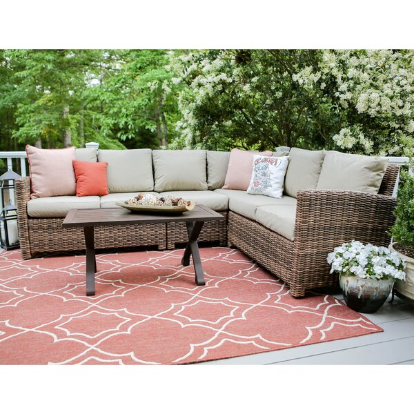 Coast 5Piece Rattan Sectional Seating Group With Cushions By Darby Home Co
