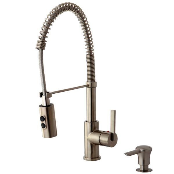 Continental Pull Down Single Handle Kitchen Faucet with Soap Dispenser by Kingston Brass