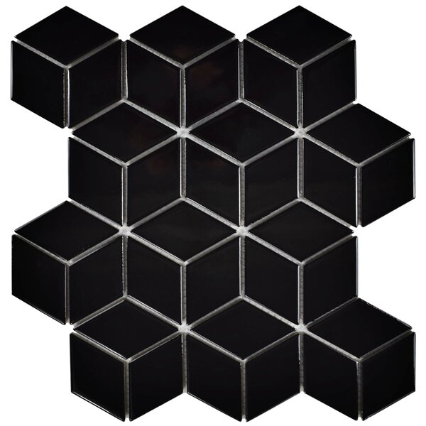 Retro Rhombus 1.88 x 3.18 Porcelain Mosaic Tile in Glossy Black by EliteTile
