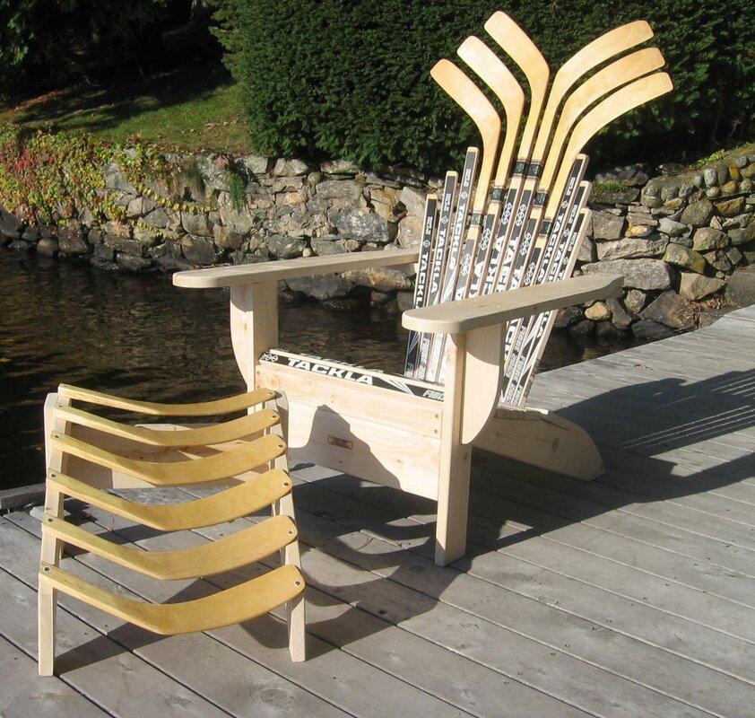 Hockey Stick Solid Wood Adirondack Chair With Ottoman
