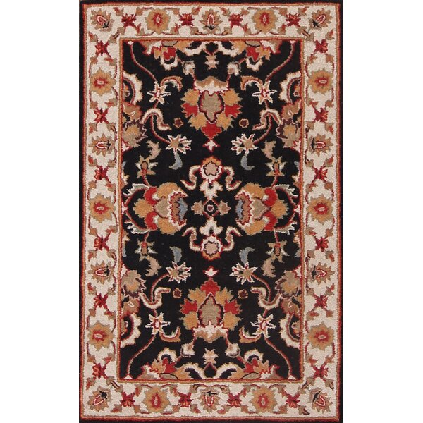 Dearmond Traditional Agra Oriental Hand-Tufted Wool Beige/Black/Red Area Rug by Bloomsbury Market