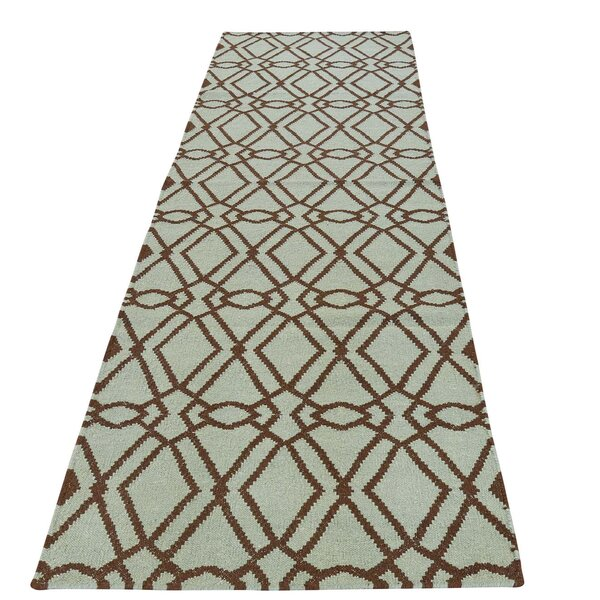 Flat Weave Durie Kilim Reversible Hand-Knotted Green Area Rug by House of Hampton