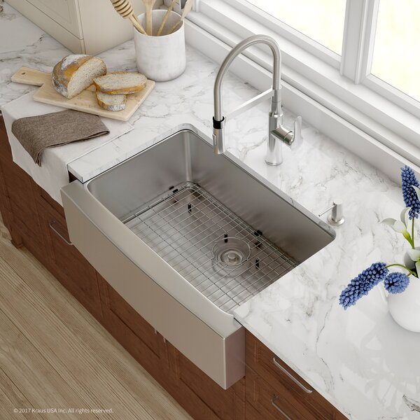 "Handmade Series 29.75"" x 20.75"" Farmhouse Kitchen Sink with Faucet and Soap Dispenser by Kraus"