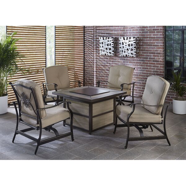 Worley 5 Piece Firepit Set with Cushions by Fleur De Lis Living