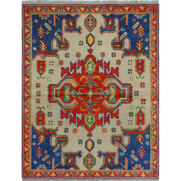 One-of-a-Kind Millender Stella Hand-Knotted Wool Beige/Blue Are Rug by Bloomsbury Market