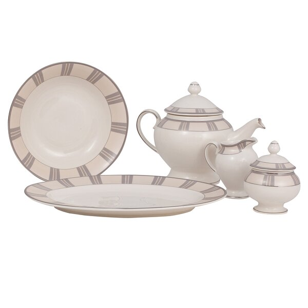 Linen Ivory China Traditional Serving 5 Piece Dinnerware Set by Shinepukur Ceramics USA, Inc.