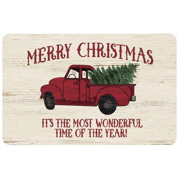 Merry Christmas Truck Kitchen Mat