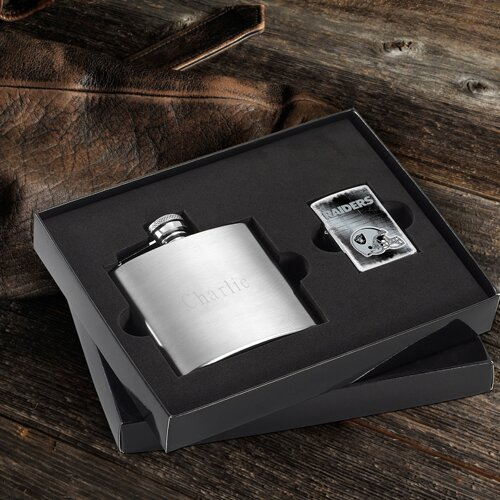 Personalized Gift Lighter and Brushed Flask Gift by JDS Personalized Gifts