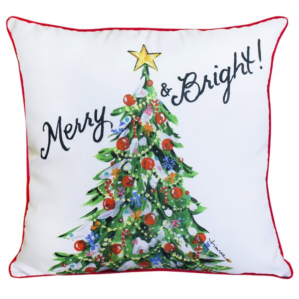 Merry and Bright Christmas Tree Throw Pillow by The Holiday Aisle