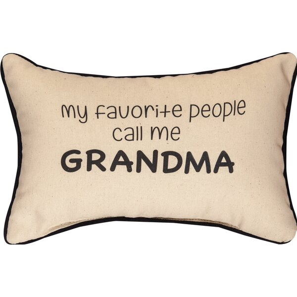 My Favorite People Call Me Grandma Word Cotton Lumbar Pillow by Manual Woodworkers & Weavers