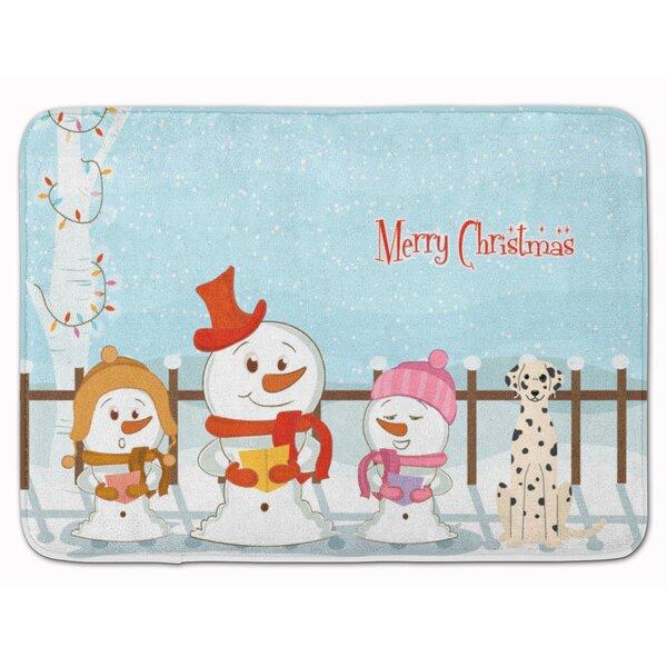 Merry Christmas Carolers Dalmatian Memory Foam Bath Rug
