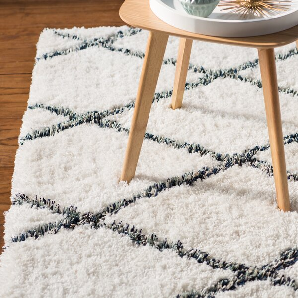 Beesley Hand-Tufted White/Blue Area Rug by Ivy Bronx