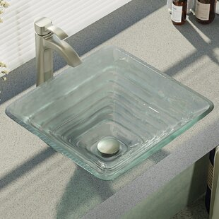 Best Deals Textured Glass Square Vessel Bathroom Sink with Faucet By René By Elkay