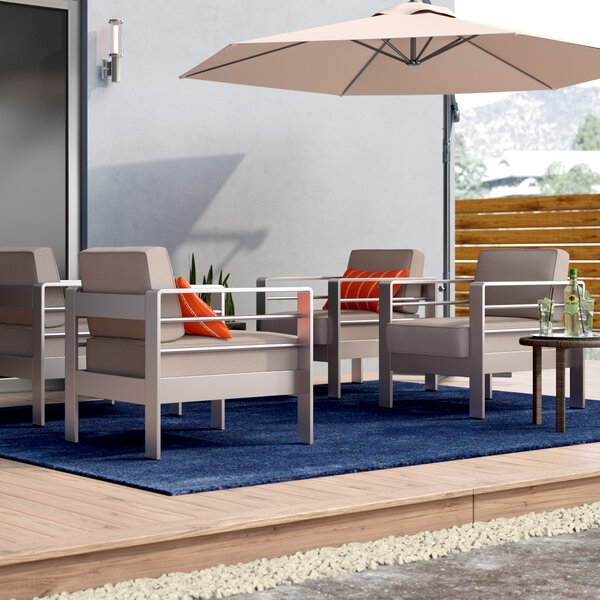 Royalston Outdoor Patio Chair with Sunbrella Cushions (Set of 4) by Brayden Studio