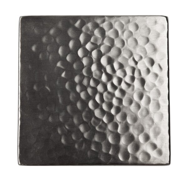 Solid Hammered Copper 4 x 4 Decorative Accent Tile in Satin Nickel by The Copper Factory